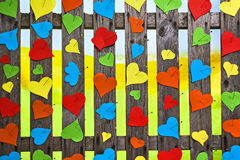 Heart fence hearts love meny colour Valentines Day paper Royalty Free Stock Image