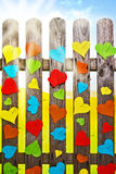 Heart fence hearts love meny colour Valentines Day paper Stock Images