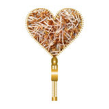 Heart with fenugreek sprouts. Heart shape made of golden zip, filled with fenugreek sprouts texture stock image