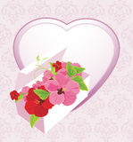 Heart and festive box with flowers. On the decorative background. Illustration Stock Photos