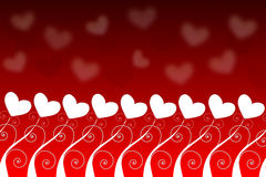 Heart field. Field of heart plants on red background and blur white hearts Royalty Free Stock Photos