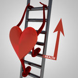 Heart Figure Climp Up To Better Health Stock Image