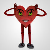 Heart figure standing with worries in head. Illustration Stock Image