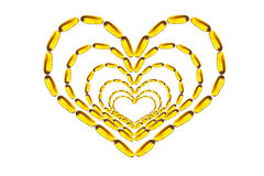 Heart figured omega pills Stock Photos