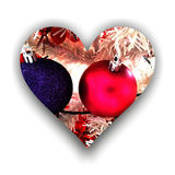Heart filled with Christmas globes Stock Photography