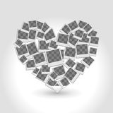 Heart filled frames for photos with transparent backgrounds on w Royalty Free Stock Images