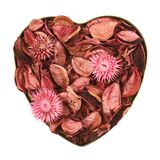 Heart filled with medley potpourri Royalty Free Stock Photos