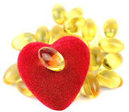 Heart filled with omega 3 Royalty Free Stock Photo