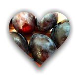 Heart filled with plums. Heart shape with shadow, filled with plums texture Royalty Free Stock Photos