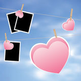 Heart with Film Frame on Rope Royalty Free Stock Photos