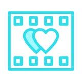 HEART FILM REEL Icon. HEART FILM REEL COLOR LINE VECTOR ICON Stock Photos
