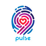 Heart finger print. Colorful pulse fingerprint logo with heart shape inside. Conceptual security logo or identification icon of dashed line finger print Royalty Free Stock Images