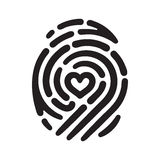 Heart finger print. Fingerprint with heart shape inside. Conceptual security logo or identification icon of dashed line finger print Stock Image