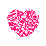 Heart Finger print. Heart Shape abstract Finger Print valentine card Stock Image
