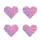 Heart Finger print. Heart Shape abstract Finger Print valentine set Stock Photo
