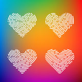 Heart Finger print. Heart Shape abstract Finger Print valentine set Royalty Free Stock Image