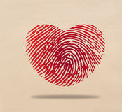 Heart fingerprint. A Red heart of fingerprint Royalty Free Stock Photography