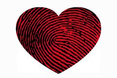 Heart with fingerprint pattern. Heart with a fingerprint close-up Stock Image