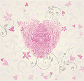 Heart fingerprint illustration. Pink heart fingerprint and floral illustration Stock Photos