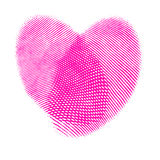 The heart of the fingerprints. Two fingerprints forming a heart isolated over white Stock Images