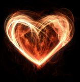 Heart on fire. Flames making a heart shape Royalty Free Stock Photos
