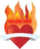 Heart on Fire. With flames and a banner Royalty Free Stock Photo