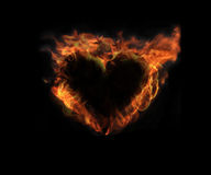 Heart on Fire 2. Heart on real fire for many different meanings Royalty Free Stock Photography