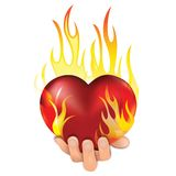 Heart in fire. Heart love in fire icon gift to woman. Valentine day passion illustration. Eps10 Royalty Free Stock Photography