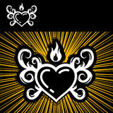 Heart And Fire. Coat Of Arms On Yellow Background Royalty Free Stock Photography