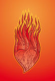 Heart on fire. Illustration of love heart on fire with flames, gradient red and orange background Royalty Free Stock Images