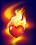 Heart in fire. Hot heart in fire of love Royalty Free Stock Photos