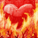 Heart in fire. Royalty Free Stock Photography