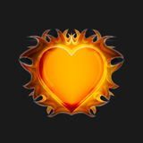 Heart on fire on a dark background. Vector. Royalty Free Stock Photos