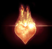 Heart on fire with a flare Stock Photo