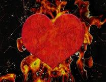 Heart on Fire Grunge Illustration Royalty Free Stock Photo