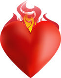 Heart on Fire. The heart with lots of flames Royalty Free Stock Image