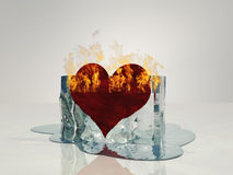 Heart on fire melting. Ice Stock Photo