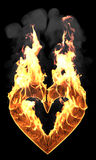 Heart fire and smoke Royalty Free Stock Image