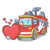 With heart fire truck mascot cartoon. Vector illustration Stock Photography