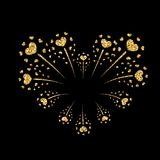 Heart firework gold vector isolated. Heart firework gold. Beautiful flat golden firework isolated on black background. Bright decoration design Valentine day Royalty Free Stock Image