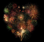Heart of fireworks Royalty Free Stock Photos