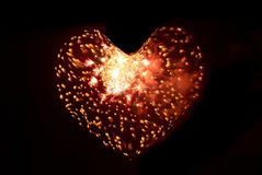 Heart from fireworks Royalty Free Stock Images