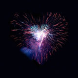 Heart fireworks Stock Photography