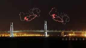 Heart Fireworks celebrating over Yokohama Bay Bridge at night. Japan Stock Images
