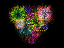 Heart fireworks Stock Images