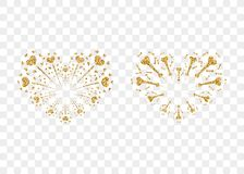 Heart fireworks gold set vector isolated. Heart fireworks gold set. Beautiful flat golden firework isolated on transparent background. Bright decoration design Royalty Free Stock Photos