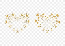 Heart fireworks gold set vector isolated. Heart fireworks gold set. Beautiful flat golden firework isolated on transparent background. Bright decoration design Stock Photography