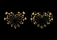 Heart fireworks gold set vector isolated. Heart fireworks set gold. Beautiful flat golden firework isolated on black background. Bright decoration design Royalty Free Stock Photography