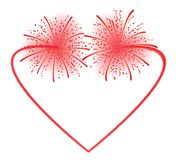 Heart fireworks. Heart shape fireworks illustration Royalty Free Stock Photography