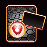 Heart with first aid icon on black hexagon ad Stock Photography